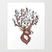 Floral Deer Art Print