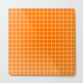 Heat Wave - orange color - White Lines Grid Pattern Metal Print