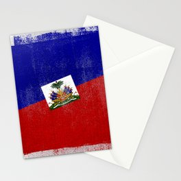 Haitian Distressed Halftone Denim Flag Stationery Cards