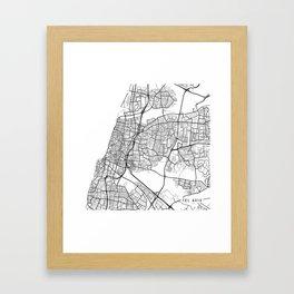 Tel Aviv Map, Israel - Black and White Framed Art Print
