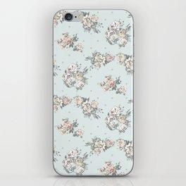 Pastel blue brown pink vintage roses polka dots pattern iPhone Skin