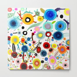 Rupydetequila whimsical floral art 2018 Metal Print