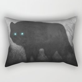 Black and White Wolf Moon Silhouette  Rectangular Pillow