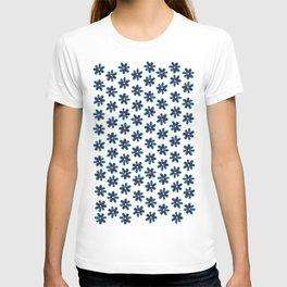 Blue Pink Sunflower Seeds Flowers Pattern T-shirt