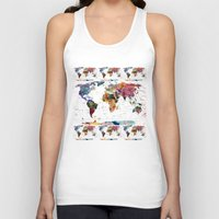 geek Tank Tops featuring map by mark ashkenazi
