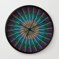 fractal Wall Clocks featuring Peacock fractal by David Zydd
