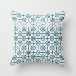 Portuguese Tiles of the Algarve in White with Glitch Throw Pillow