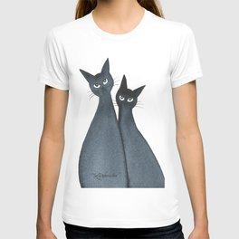 Martinez Whimsical Black Cats T-shirt