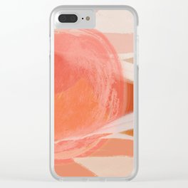 Shapes and Layers no.22 - Pink, coral, peach, orange abstract painting Clear iPhone Case