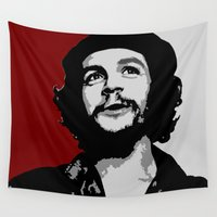 che Wall Tapestries featuring Ernesto Che Guevara smile by Sofia Youshi