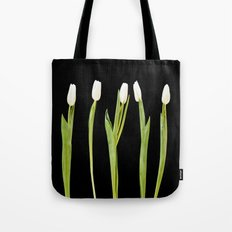 White tulips on a black background Tote Bag