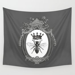 Queen Bee No. 3   Vintage Bee with Crown   Black, White and Grey   Wall Tapestry