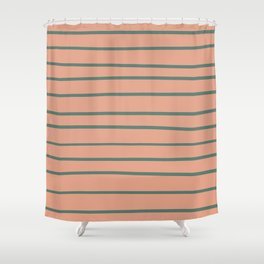 Thistle Green 22-18 Hand Drawn Horizontal Lines on Earthen Trail Pink 4-26 Shower Curtain
