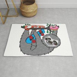 Skater Sloth and the donuts rain Rug