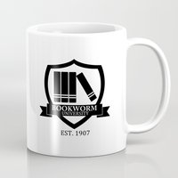 bookworm Mugs featuring Bookworm University by bookwormboutique