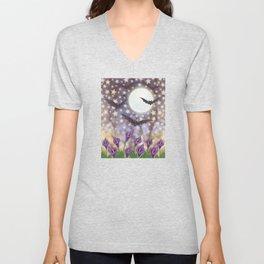 the moon, stars, bats, & calla lilies Unisex V-Neck