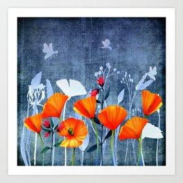 Summer night- Shadow of a Poppy meadow- Flowers Art Print