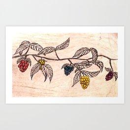 Neon Berries Art Print