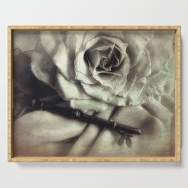 Faded Rose and Old Key Vintage Style Modern Country Cottage Art A130 Serving Tray