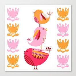Happy Pink And Orange Birds And Blooms Canvas Print