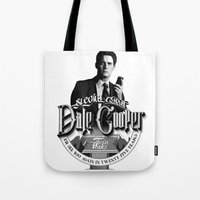 dale cooper Tote Bags featuring Dale Cooper - Twin Peaks by KevinART