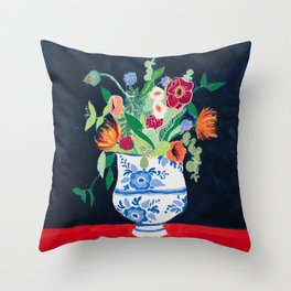 Bouquet of Flowers in Blue and White Urn on Navy Throw Pillow
