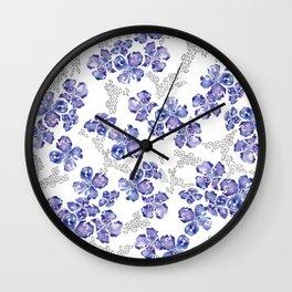 Hydrangea Blooms in Purple Wall Clock