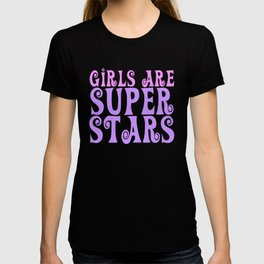 Girls are Super Stars - pink and purple T-shirt