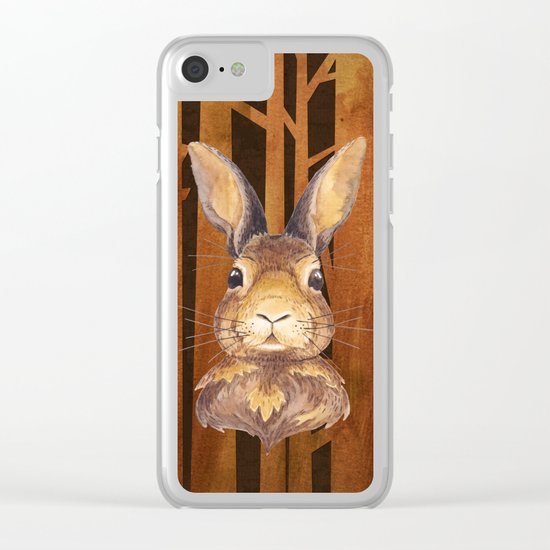 Rabbit in the forest- abstract watercolor illustration Clear iPhone Case