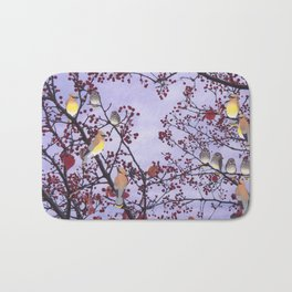 cedar waxwings and berries Bath Mat