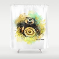 wall clock Shower Curtains featuring Clock Orloj Prague  by jbjart