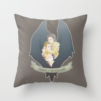 destiel Throw Pillows featuring [ Supernatural ] Destiel Castiel Dean Winchester by Vyles