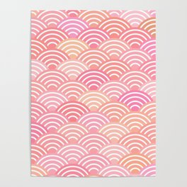 dragon fish scales simple pattern Nature background with japanese wave Poster