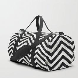 Marble Chevron Pattern - Black and White Duffle Bag