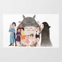 hayao miyazaki Area & Throw Rugs featuring Hayao Miyazaki's Family by Naineuh