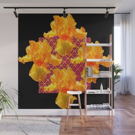 Golden Spring Iris Patterned Black  Decor Wall Mural