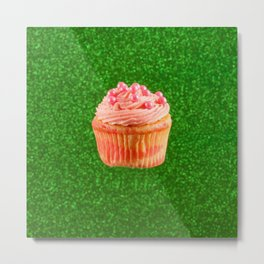 Cupcake Love   Pink Pearls on Green Sparkle Metal Print