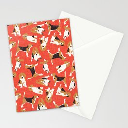 beagle scatter coral red Stationery Cards