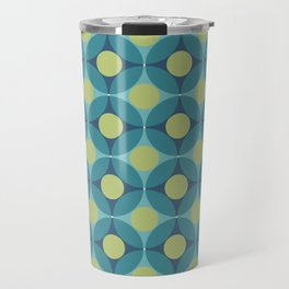 Geometric Circle Pattern Mid Century Modern Retro Blue Green Travel Mug
