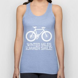 """A Simple Biker Tee For Riders """"Winter Miles Summer Miles"""" Illustration Of A Bike T-shirt Design Unisex Tank Top"""