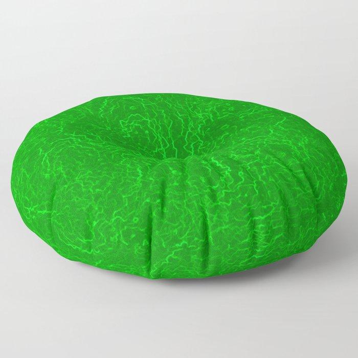 Neon Green Alien DNA Plasma Swirl Floor Pillow