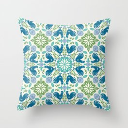 Blue Roosters Throw Pillow
