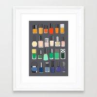 nail polish Framed Art Prints featuring Nail polish collection 2 by uzualsunday