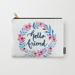 Watercolor Floral Wreath Hello Friend Carry-All Pouch