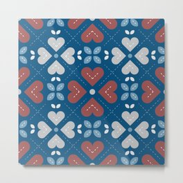 Cross My Heart Pattern Metal Print