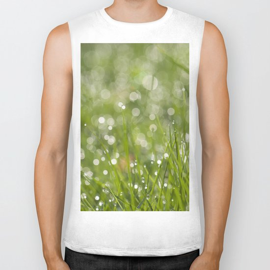 Fresh green meadow - Green grass with waterdroplets sparkling in the sun on #Society6 Biker Tank