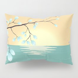 Delicate Asian Inspired Image of Pastel Sky and Lake with Silver Leaves on Branch Pillow Sham
