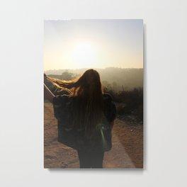 Hiking Sun Metal Print