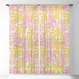 Tropical Monstera Deliciosa Plant Leaves, Modern Abstract Hand-painted Watercolor Botanical Leaf Pattern in Pastel Golden and Peachy Rose Blush Pink Colors Sheer Curtain