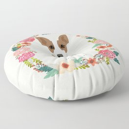 rat terrier floral wreath dog breed pet portrait pure breed dog lovers Floor Pillow